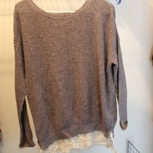 Sweaters - Grey Sweater with lace detailing